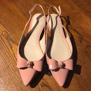Blush pink bow flats